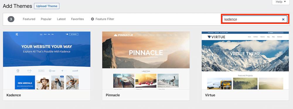 Zoek een WordPress theme.
