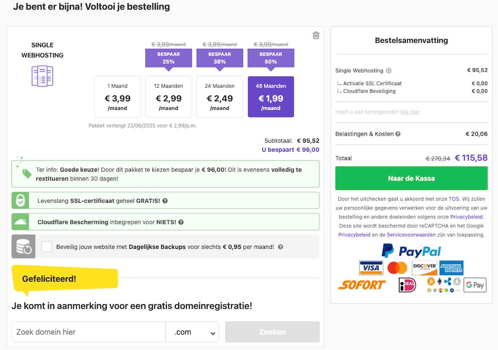 Hostinger kosten bij Single Webhosting