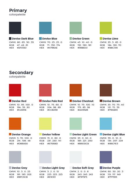 """Het """"Devise"""" kleurenpallet"""