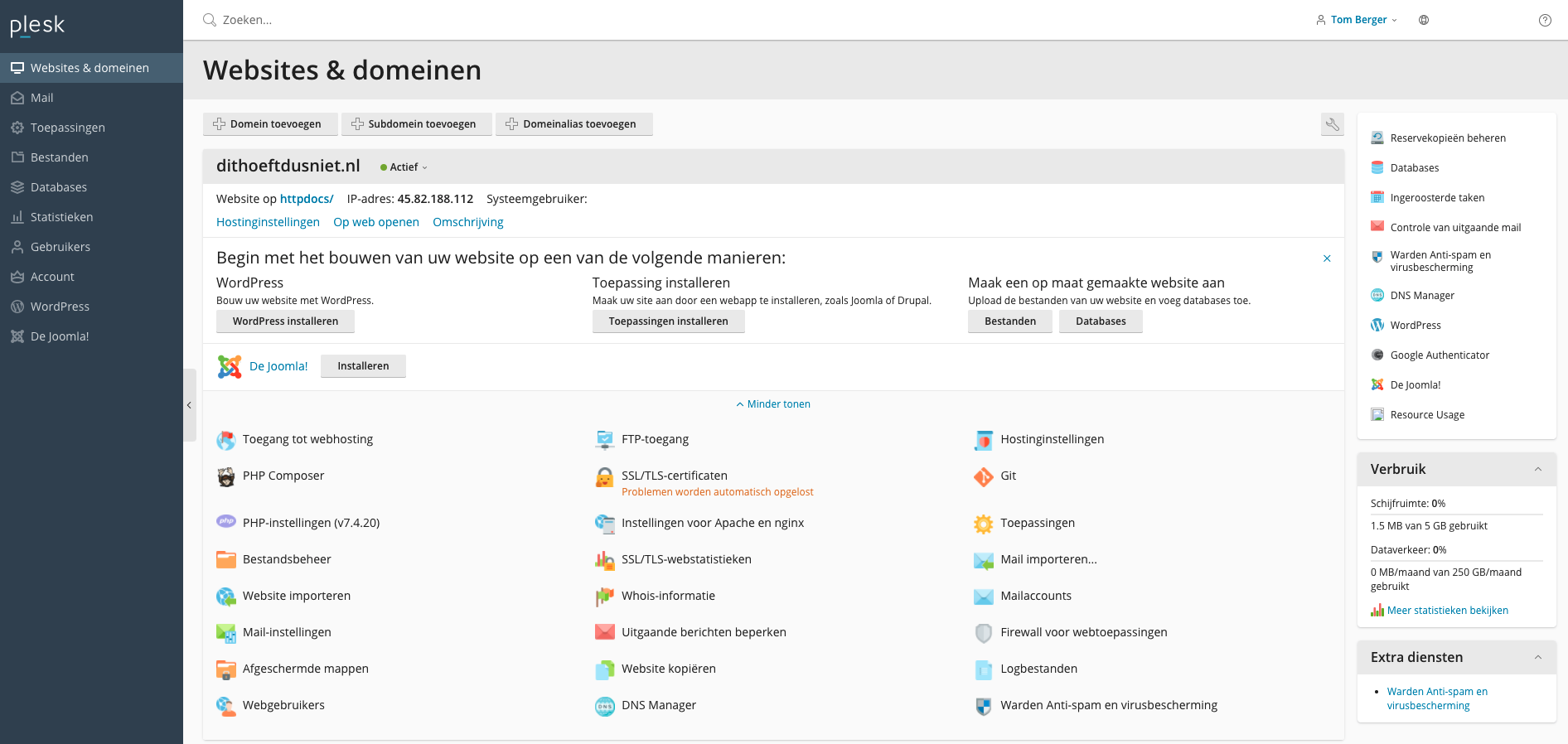 Het Plesk controle panel van Cloud86 webhosting