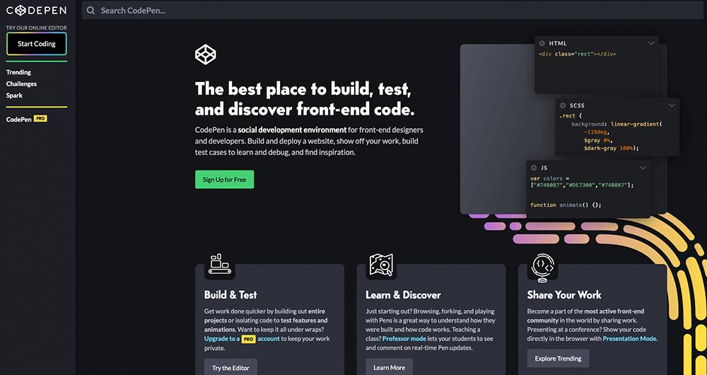 Met Codepen kan je zelf met html en css puzzelen