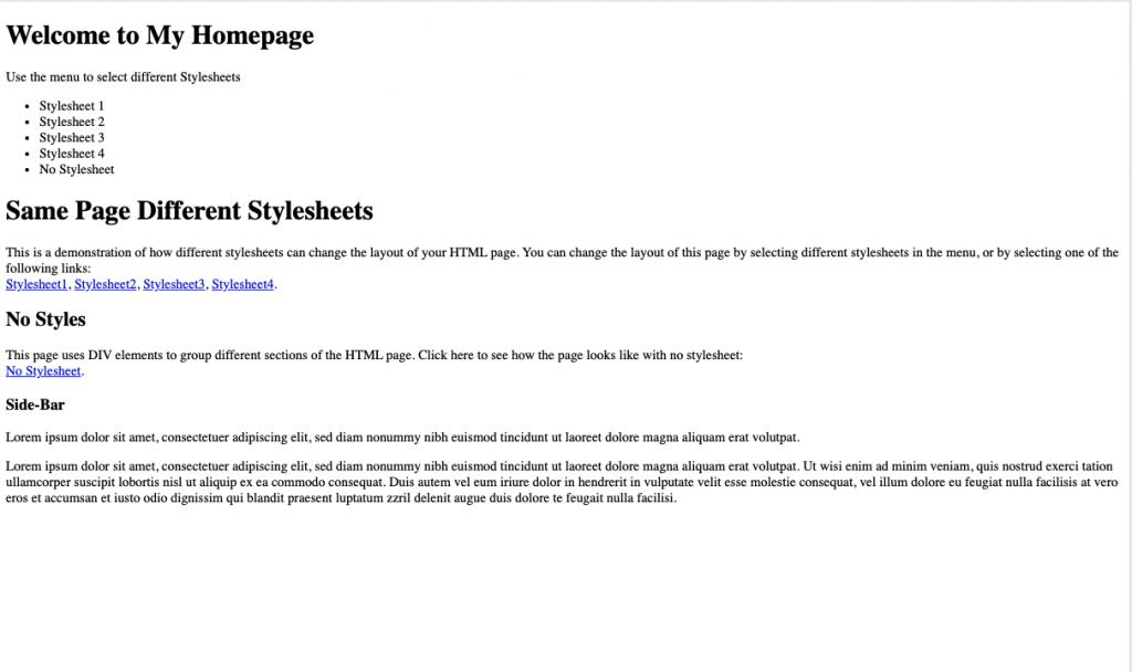 HTML pagina zonder CSS