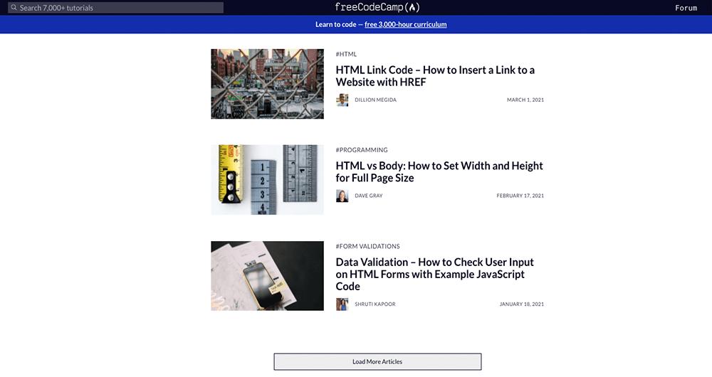 Veel verschillende gratis HTML en CSS cursussen op FreeCodeCamp