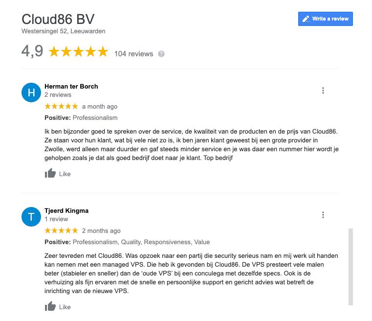 Cloud86 Google reviews