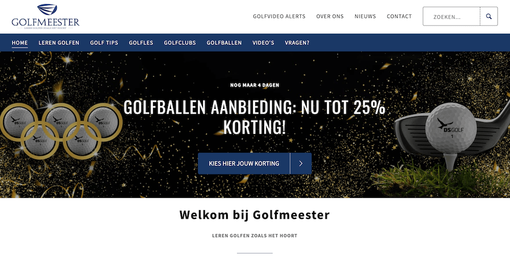 Voorbeeld van een golf affiliate website