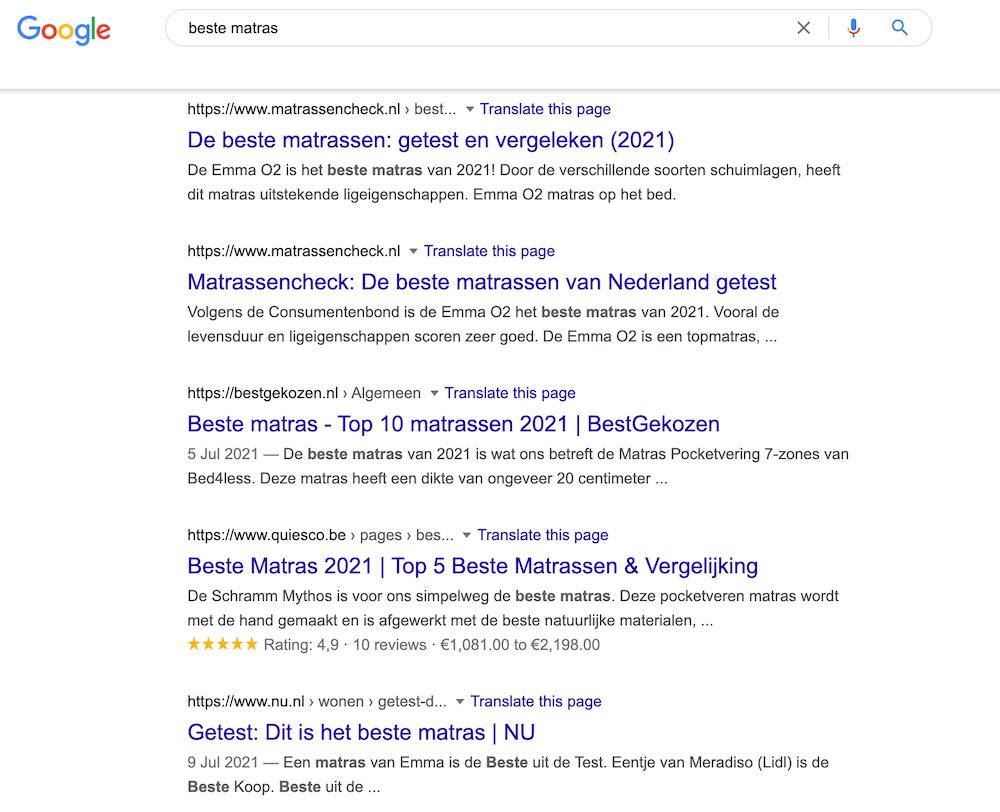 Beste matras zoekresultaten in Google