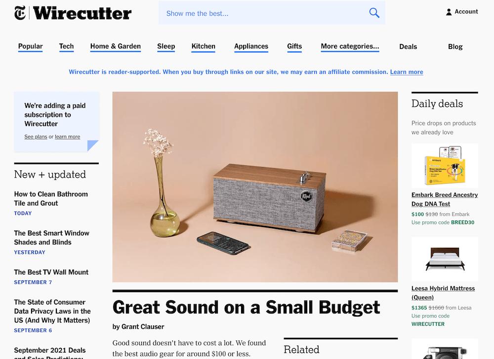 Wirecutter homepage